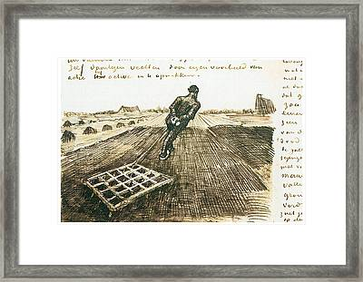Man Pulling A Harrow Framed Print by Vincent van Gogh