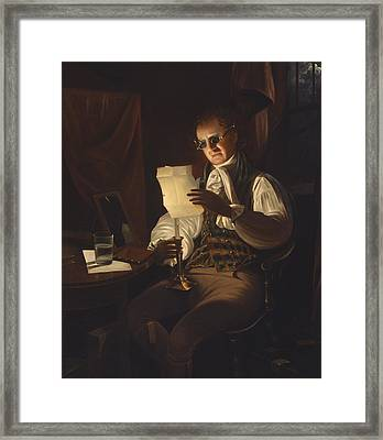 Man Reading By Candlelight Framed Print by Rembrandt Peale
