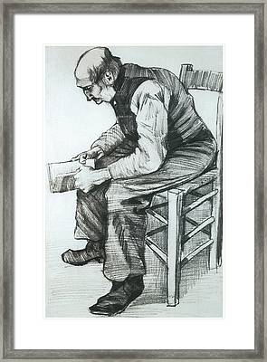 Man Reading The Bible Framed Print