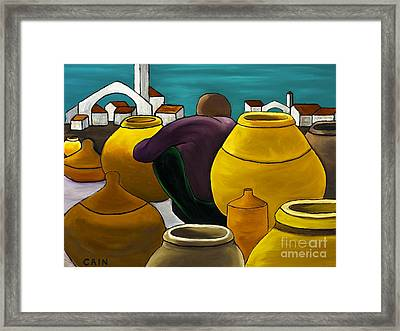 Man Selling Pots Framed Print