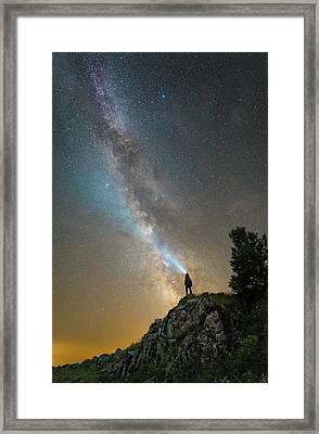 Man Shining A Flashlight On The Milky Framed Print by Yuri Zvezdny