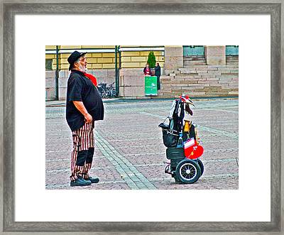 Man Singing In Senate Square In Helsinki-finland Framed Print by Ruth Hager