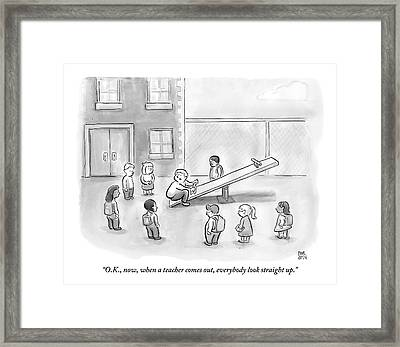 Man Sits On See-saw And Speaks To Cluster Framed Print by Paul Noth