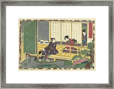 Man Sitting On Porch, Pulling Up His Shoes, Looking Framed Print by Kunisada (i) And Utagawa And Kinugasa Fusajiro And Murata Heiemon
