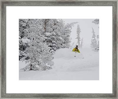 Man Skiing Through Rimed Aspen Framed Print by Howie Garber