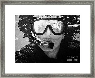 Man Snorkeling With Mask And Snorkel In Clear Water Dry Tortugas Florida Keys Usa Framed Print by Joe Fox