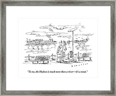 Man Speaks To Woman As They Look Framed Print by Barbara Smaller