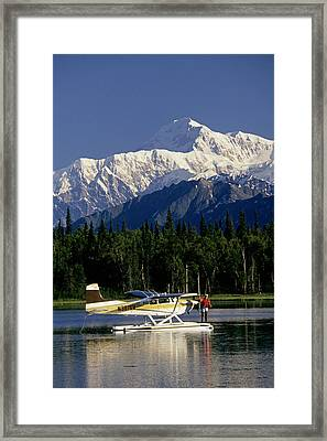 Man Spin Fishing On Lake From Framed Print