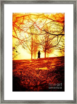 Man Standing In Front Of A Blazing Forest Fire Framed Print