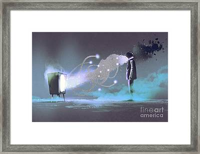 Man Standing In Front Of Unusual Framed Print by Tithi Luadthong