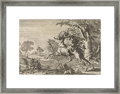 Man Strapped On The Back Of A Deer Sent Into The Wilderness Framed Print by Caspar Luyken And Pieter Van Der Aa I