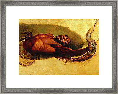 Man Struggling With A Boa Constrictor, Study For Liboya Framed Print