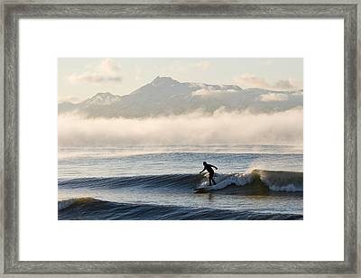 Man Surfing In Moring Near Homer Framed Print
