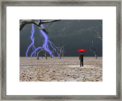 Framed Print featuring the digital art Man Takes In Storm Under Umbrella by Bruce Rolff