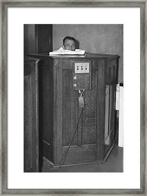 Man Taking A Sauna Framed Print by Underwood Archives