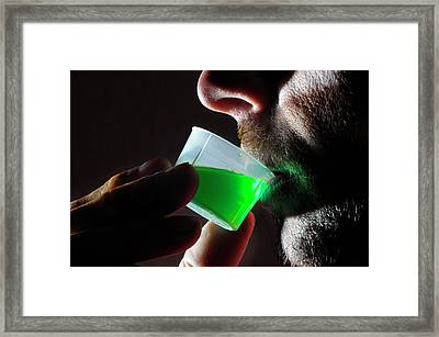 Man Taking Methadone Framed Print by Cordelia Molloy