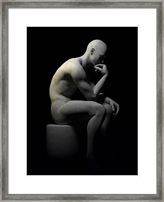 Framed Print featuring the digital art Man Thinking... by Tim Fillingim