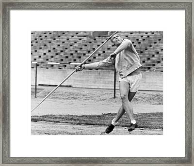 Man Throwing A Javelin Framed Print