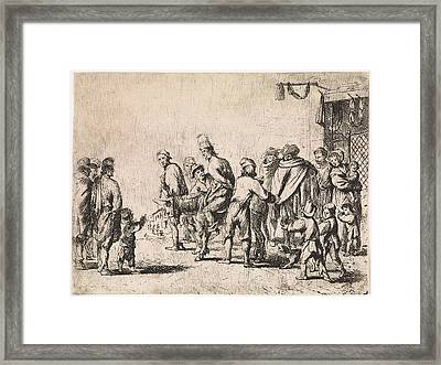 Man Tied Up On A Donkey, Print Maker Cornelis De Wael Framed Print by Cornelis De Wael