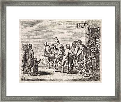 Man Tied Up On Donkey, Cornelis De Wael Framed Print by Cornelis De Wael