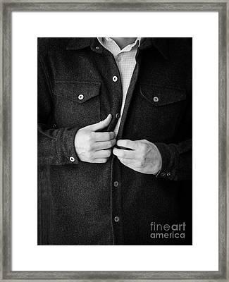 Man Unbuttoning His Shirt Framed Print