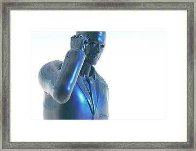 Man Using A Cell Phone Framed Print by Carol & Mike Werner