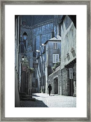 Man Walking Away Down An Ancient Old Medieval Street In Vannes Brittany France Europe Framed Print