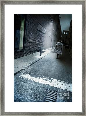 Man Walking Down A Dark Alley Framed Print