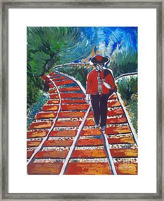 Man Walking On Rails Framed Print by Ivan Ivanov