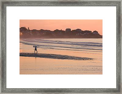 Man Walking On The Beach, Good Harbor Framed Print by Panoramic Images