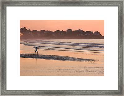 Man Walking On The Beach, Good Harbor Framed Print
