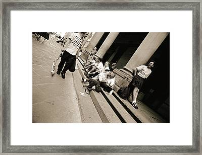 Man Wearing A Jesus T-shirt Staring At Lovers, 2004 Bw Photo Framed Print by Stephen Spiller