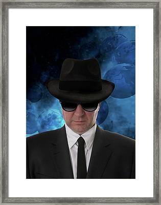 Man Wearing Sunglasses And Black Hat Framed Print