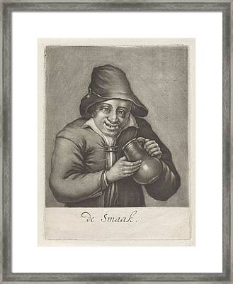Man With A Beer Bottle, Anonymous Framed Print by Anonymous