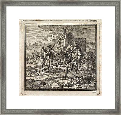 Man With A Globe In His Arms Drops Valuables Framed Print by Jan Luyken And Wed. Pieter Arentsz & Cornelis Van Der Sys (ii)