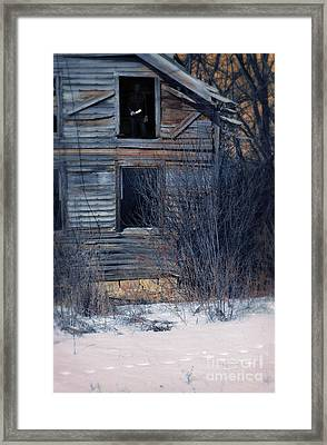 Man With A Knife In Dilapidated House Framed Print by Jill Battaglia