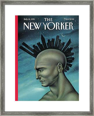 Man With A Mohawk That Resembles The Nyc Skyline Framed Print by Anita Kunz
