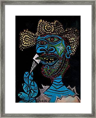 Man With A Straw Hat Eating Ice Cream Framed Print by Lois Picasso