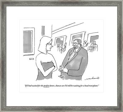 Man With A Tiny Head Holding A Glass At A Party Framed Print by Michael Crawford