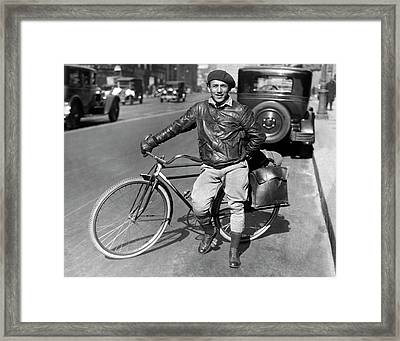 Man With A Traveling Bicycle Framed Print