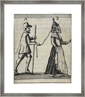 Man With A Woman On A Lead Framed Print by British Library