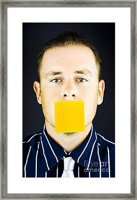 Man With Blank Paper Note Over His Mouth Framed Print by Jorgo Photography - Wall Art Gallery