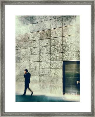 Framed Print featuring the photograph Man With Cell Phone by Silvia Ganora