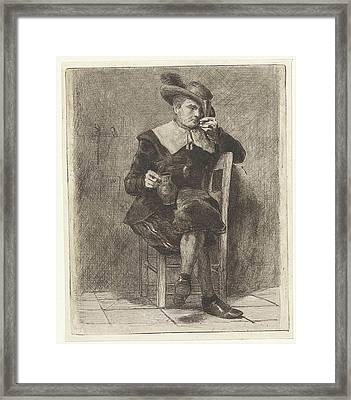Man With Jug And Glass On A Chair Framed Print by Litz Collection
