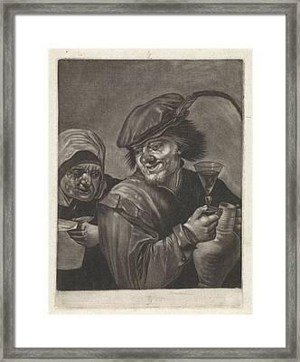 Man With Jug And Wine Glass, Variant A, Jan Van Der Bruggen Framed Print by Jan Van Der Bruggen