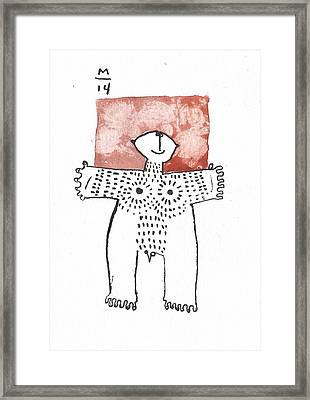 Man With Markings Red  Framed Print