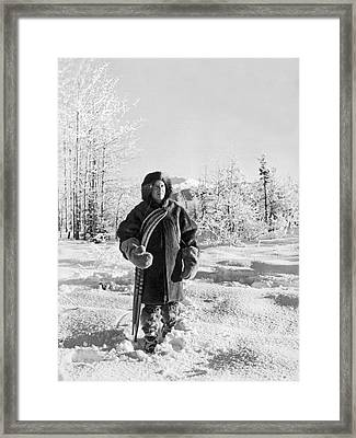 Man With Parka And Snowshoes Framed Print by Underwood Archives