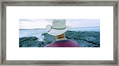 Man With Straw Hat Galapagos Islands Framed Print by Panoramic Images