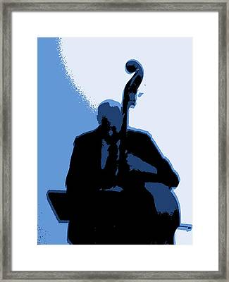 Man With Upright Bass In Blue Framed Print by Mike McCool