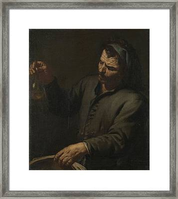 Man With Urine Bottle In His Hand, Anonymous Framed Print by Litz Collection